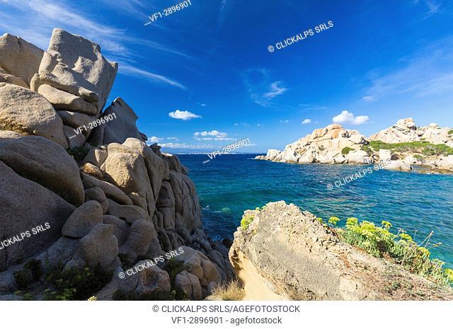 The unusual shapes of cliffs frame the turquoise sea Capo Testa Santa Teresa di Gallura Sassari Province Sardinia Italy Europe