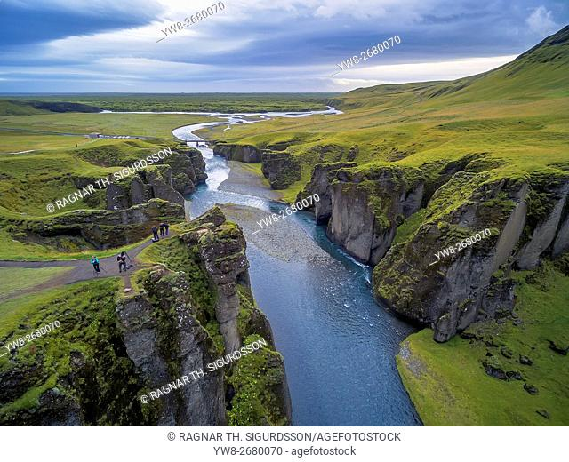 Fjadrarglufur Canyon, Fjadra River, Iceland. Located off the Ring Road near the town of Kirkjubaejarklaustur