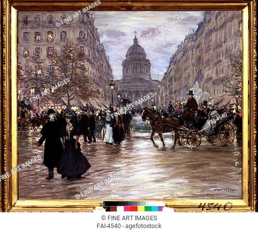 Boulevard Saint-Michel. Raffaëlli, Jean Francois (1850-1924). Oil on canvas. Postimpressionism. State A. Pushkin Museum of Fine Arts, Moscow. 64x77