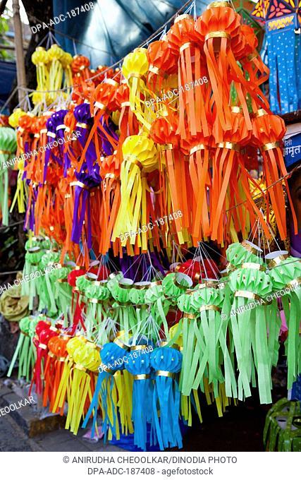 colourful lanterns hanging street vendor stall Mumbai Maharashtra India Asia