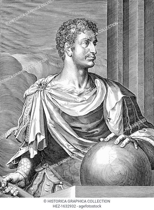 Augustus, Roman Emperor, (c1590-1629). Gaius Julius Caesar Octavianus (63 BC-14 AD) became one of a triumvirate of rulers after the death in 44 BC of Julius...