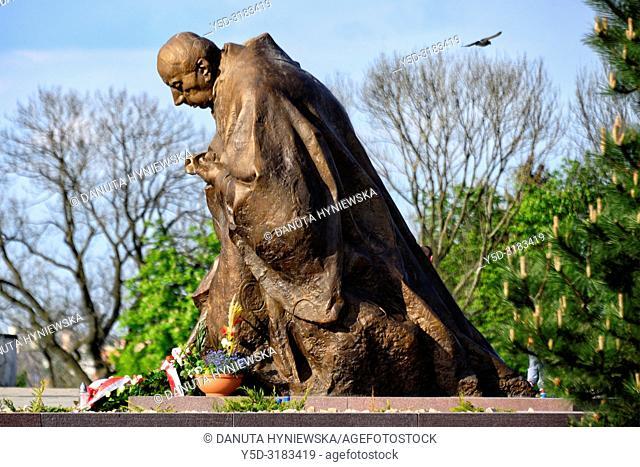 Statue of Cardinal Stefan Wyszynski (by sculptor Jan Kucz), located at the entrance to Jasna Gora near Lubomirski Gate, Jasna Gora is most famous Polish...