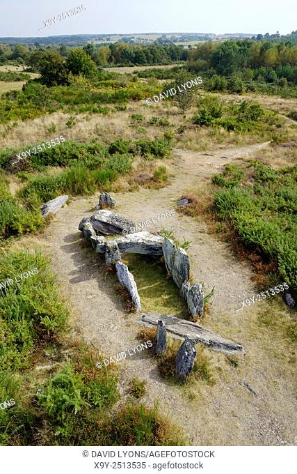 Landes de Cojoux, Saint-Just, Brittany, France. The prehistoric barrow chambered tomb dolmen known as La Four Sarrazin