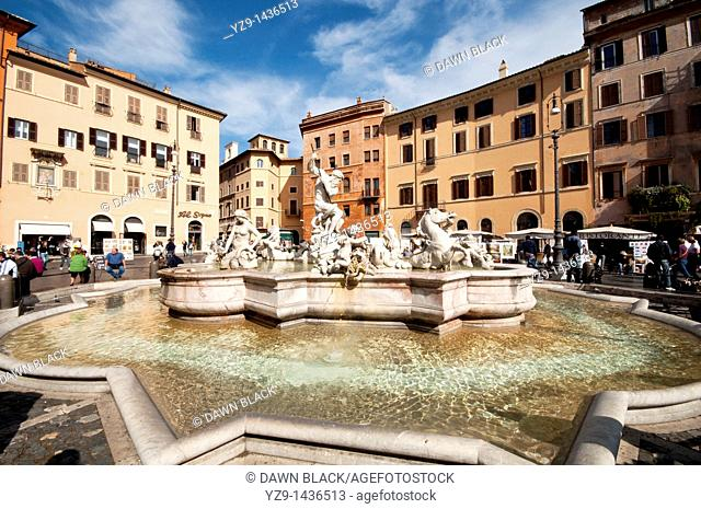 Fountain of Neptune, Piazza Navona, Rome, Italy  Originally designed in 1574 with only the basin by Giacomo Della Porta as part of the Aqua Virgo aqueduct  The...