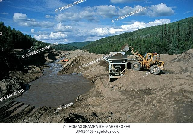 Gold excavation in the Klondike region near Dawson City, Yukon, Canada, North America