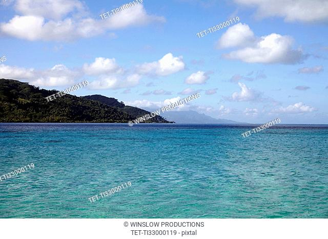 Raiatea, View of calm sea and islands