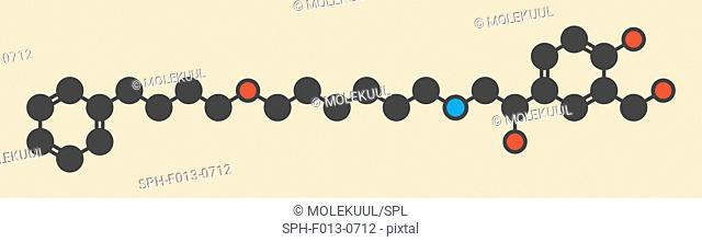Salmeterol asthma drug molecule. Stylized skeletal formula (chemical structure). Atoms are shown as color-coded circles: hydrogen (hidden), carbon (grey)