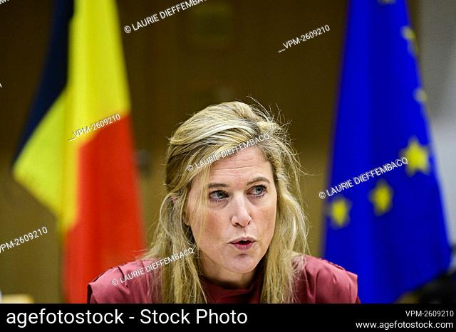 Interior Minister Annelies Verlinden pictured during a coordination meeting of all instances regarding the brexit, in the Egmont Palace in Brussels