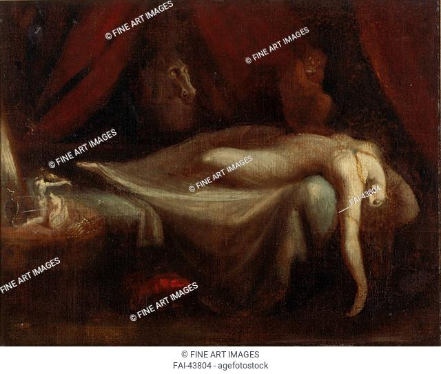 The Nightmare by Füssli (Fuseli), Johann Heinrich (1741-1825)/Oil on canvas/Classicism/1810/Schwitzerland/Private Collection/75x95/Mythology