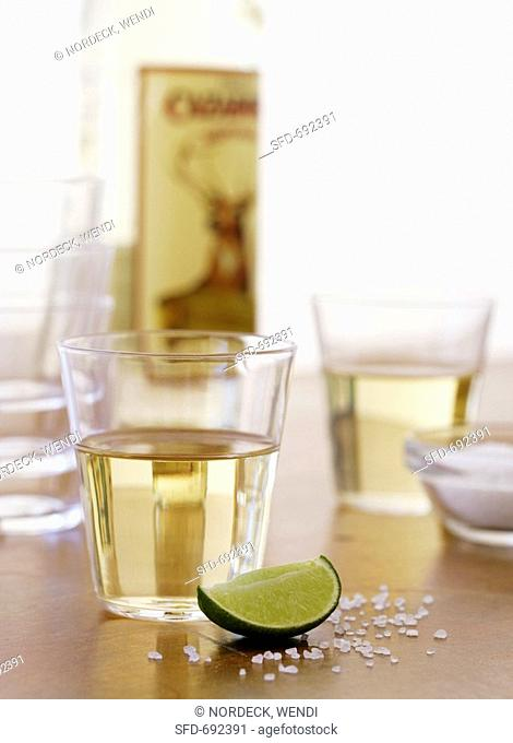 Tequila Shot with Lime Wedge and Salt