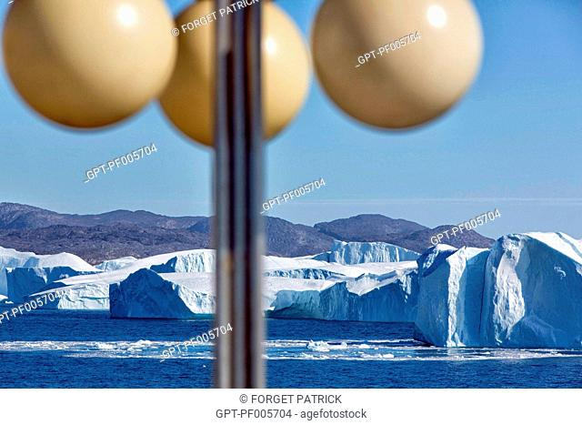 FOOTBRIDGE ON THE ASTORIA, DISCOVERY OF THE ICE FJORD, JAKOBSHAVN GLACIER, 65 KILOMETRES LONG, COMING FROM THE INLANDSIS, SERMEQ KUJALLEQ, ILULISSAT, GREENLAND