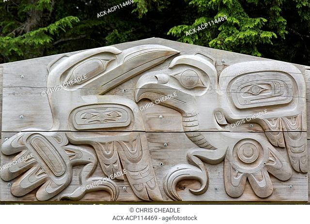 Carved sign for Skidegate, Haida Gwaii, formerly known as Queen Charlotte Islands, British Columbia, Canada