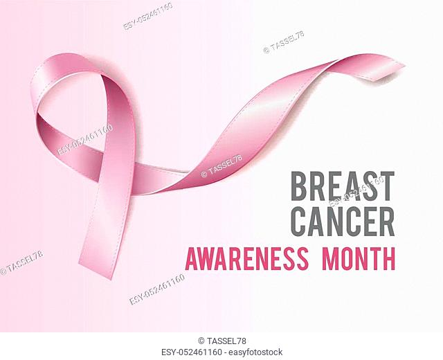 Breast cancer awareness concept with text and Realistic pink ribbon. Vector illustration