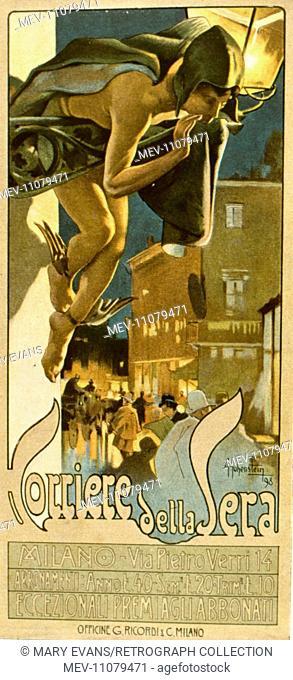Poster design, Corriere della Sera, Italian daily newspaper, by A Hohenstein