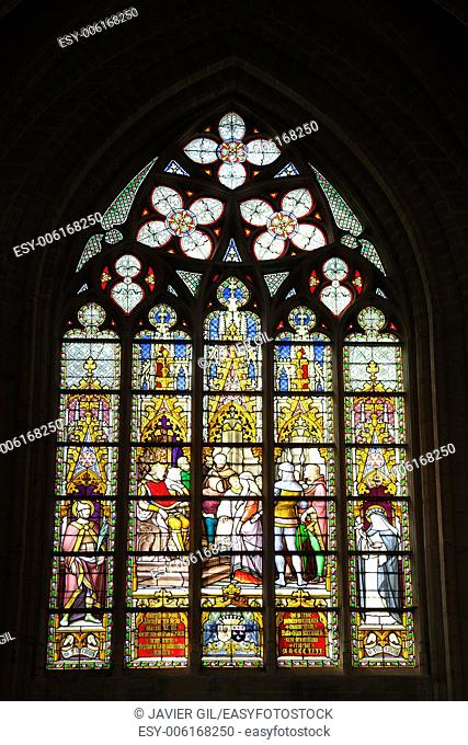 Windows of the Cathedrale Sts Michel et Gudule, Brussels, Belgium