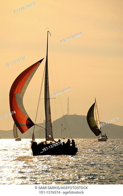 Sailboats at sunset navigating around Frioul Islands, Marseille, France