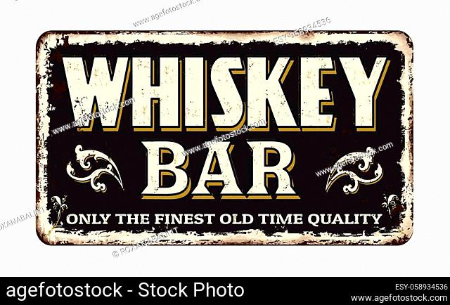 Whiskey bar vintage rusty metal sign on a white background, vector illustration