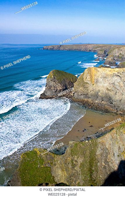 England, Cornwall, Bedruthan Steps at carnewas