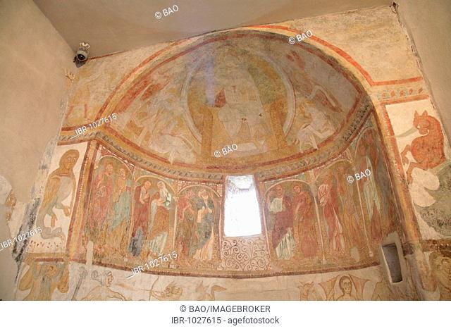 Romanesque frescos, Saint Jacob in Kastelaz, Tramin, South Tirol, Italy, Europe