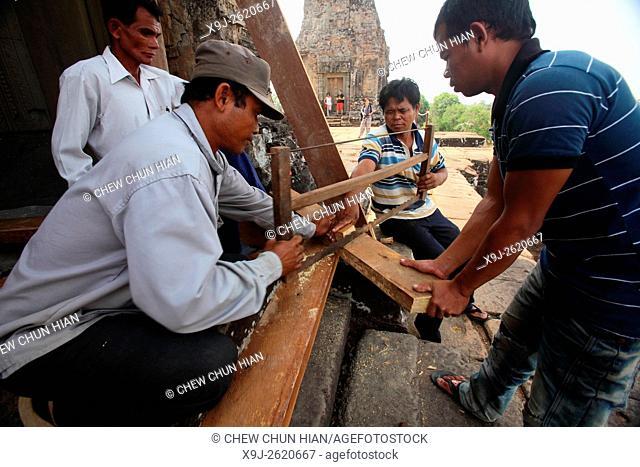 Angkor wat, maintenance work, Cambodia, Siem Reap, Angkor Wat