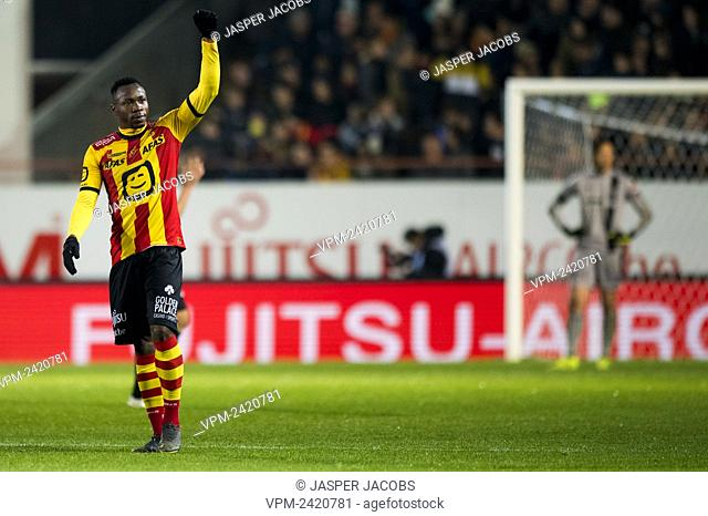 Mechelen's William Togui celebrates after scoring during a soccer match between KV Mechelen and STVV Sint-Truiden, Wednesday 30 October 2019 in Mechelen