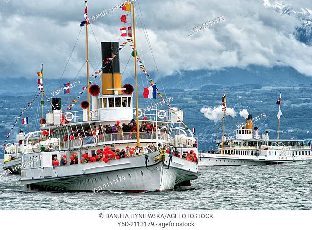 Parade Navale - parade of ancient steamboats on Geneva Lake, Switzerland