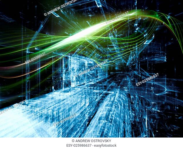 Trails of Technology series. Creative arrangement of particle trails, light and science related elements in three dimensional space for subject of modern...