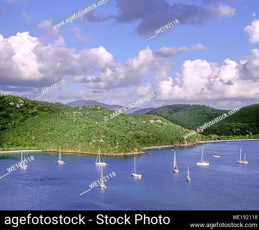 Sailboats anchored in Maho Bay on the Caribbean Island of St John in the US Virgin Islands