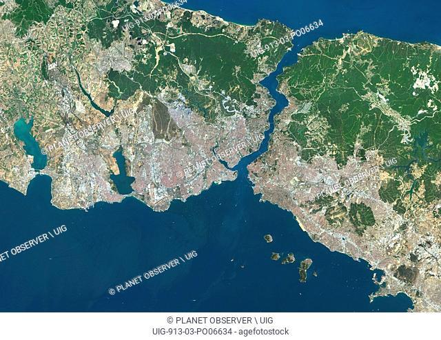 Colour satellite image of Istanbul, Turkey. Image taken on July 30, 2013 with Landsat 8 data