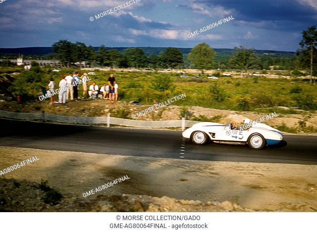 Action view at speed of Gilbert Geitner driving a Ferrari 500 TR No 45 at the SCCA National Races in Montgomery, New York, August 17, 1958