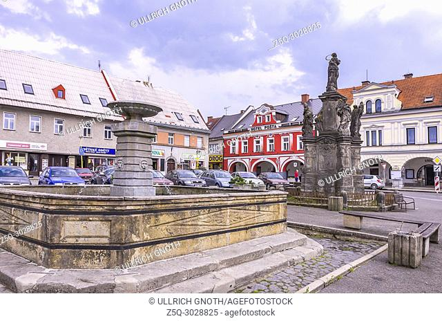 The central town square of the smalltown of Sobotka, Bohemian Paradise, Czech Republic