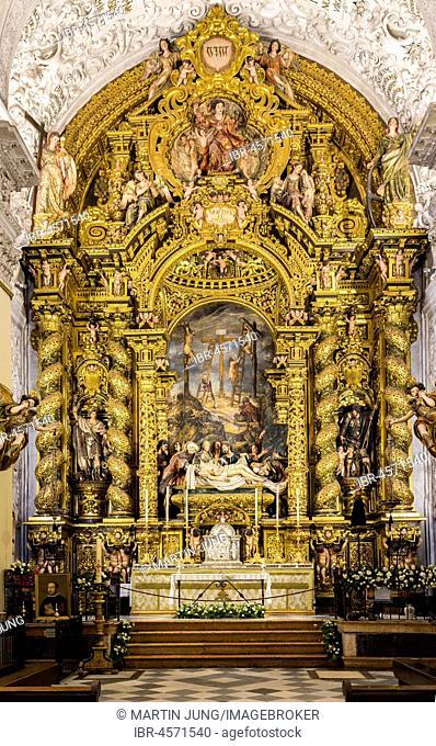 High altar, painting Bernardo Simón de Pineda, Iglesia de San Jorge at the Hospital de la Santa Caridad, Seville, Andalusia, Spain