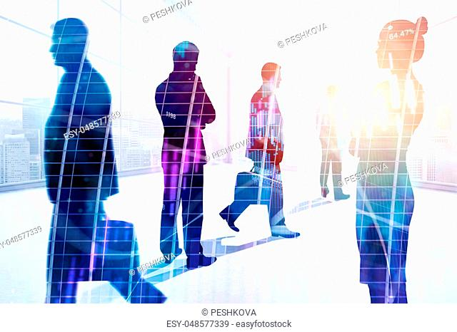 Abstract image of young businesspeople in modern office interior with forex chart, city view and sunlight. Meeting, teamwork, stock and finance concept