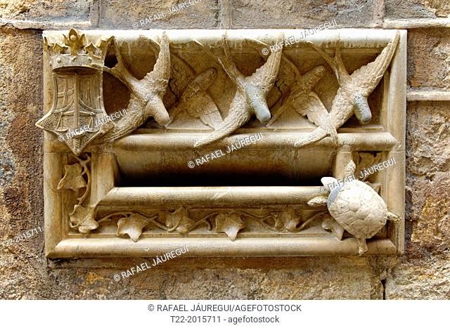 Barcelona (Spain). Architectural Detail Archdeacon house in the Gothic Quarter of Barcelona