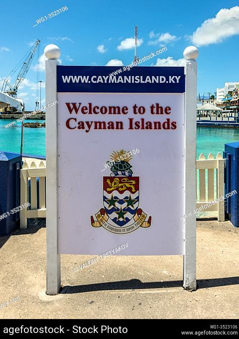 """George Town, Grand Cayman Island, UK - April 23, 2019: This is a colorful welcome sign """"""""Welcome to the Cayman Islands"""""""" seen on Cayman Islands in George Town"""