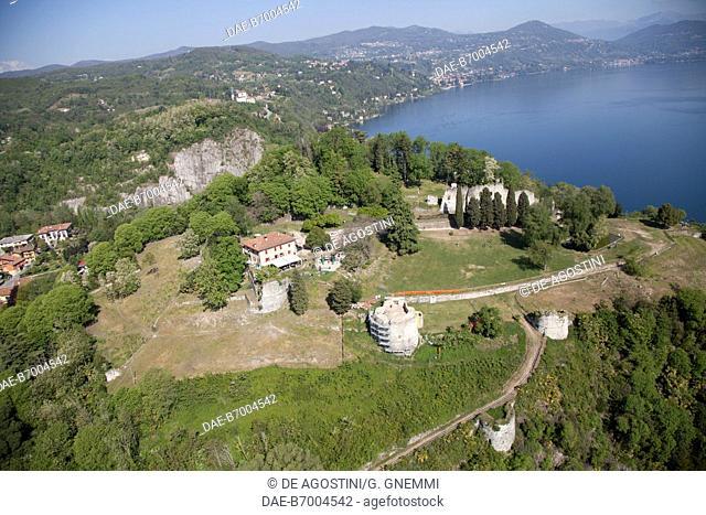 View of Rocca Borromea (Borromeo Fortress) in Arona on Lake Maggiore, Piedmont, Italy