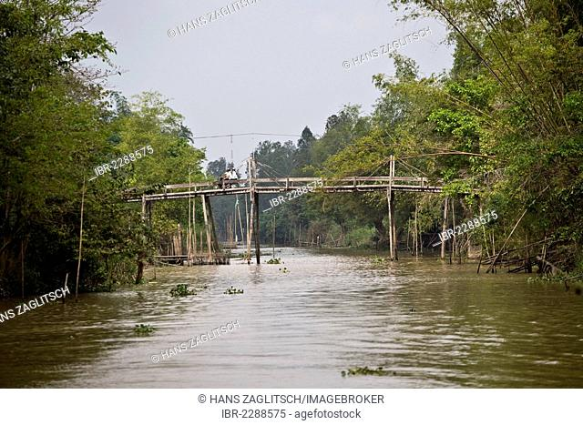 Typical wooden bridge in the Mekong Delta, South Vietnam, Vietnam, Southeast Asia
