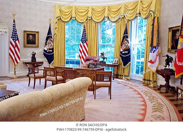 Very high resolution view of the newly renovated interior of the Oval Office in the White House in Washington, DC on Tuesday, August 22, 2017