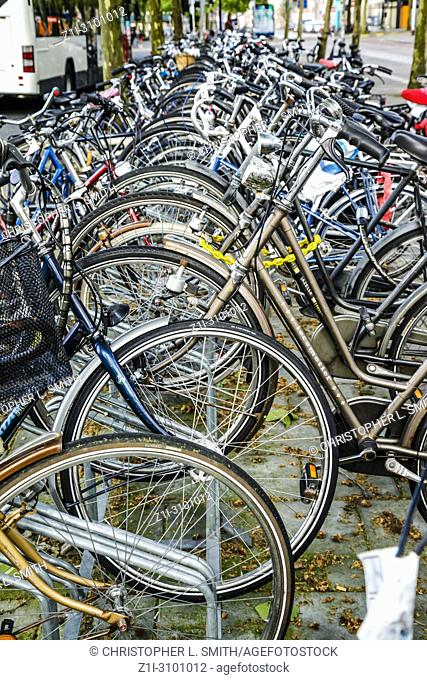 A crowd of bicycles in Breda, the Netherlands