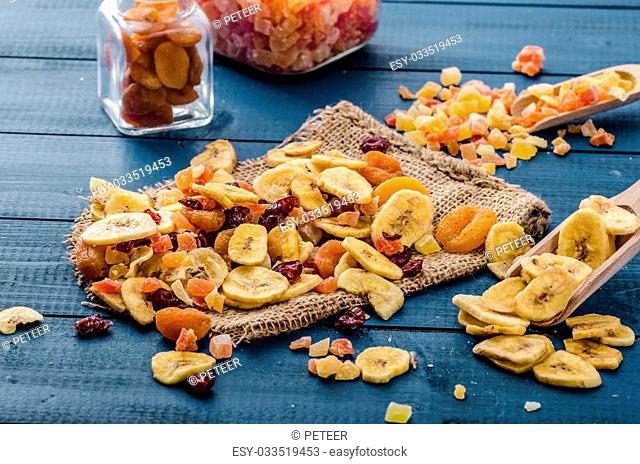Dried fruits - best start of day with yogurt - bananas apricots, papaya, crenberries, bio quality