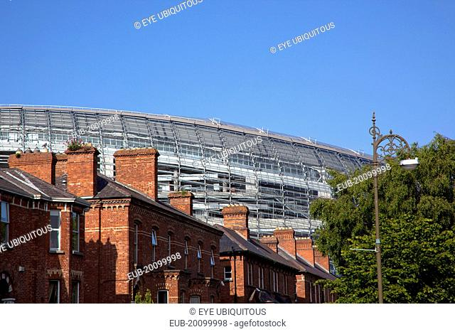 Ballsbridge Lansdowne Road Aviva 50000 capacity all seater Football Stadium designed by Populus and Scott Tallon Walker. A concrete and steel structure with...