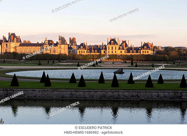 France, Seine et Marne, Fontainebleau, The Royal castle listed as World Heritage by UNESCO, view from the Grand Parterre Gardens created by Le Notre