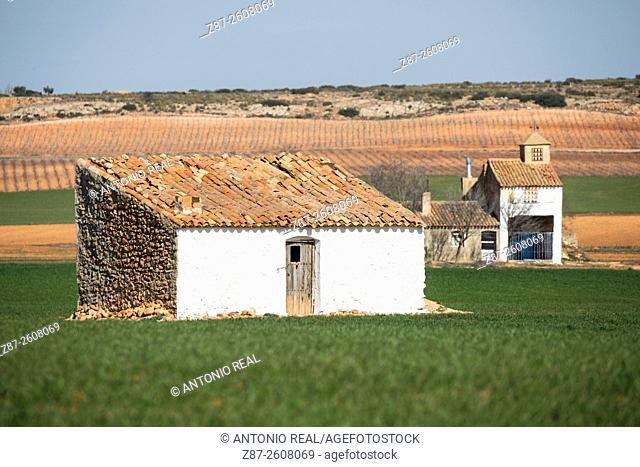 Farmhouses and grain fields, Pétrola, Albacete province, Castilla-La Mancha, Spain