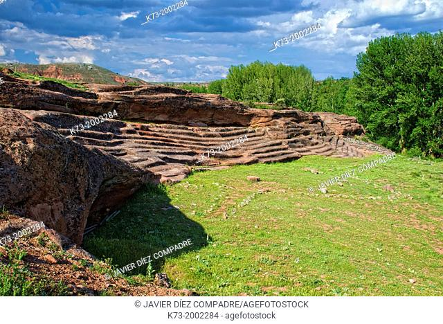 Rock Seating. Celtiberian and Roman Archaeological Site of Tiermes. Montejo de Tiermes. Soria Province. Castilla y Leon. Spain