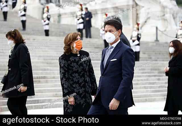 Prime Minister Giuseppe Conte and the President of the Senate Maria Elisabetta Alberti Casellati attends to National Unity and Armed Forces Day celebrations
