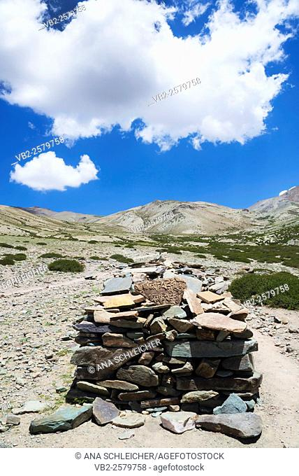 Mani stones. Trekking in Markha valley Laddakh, India