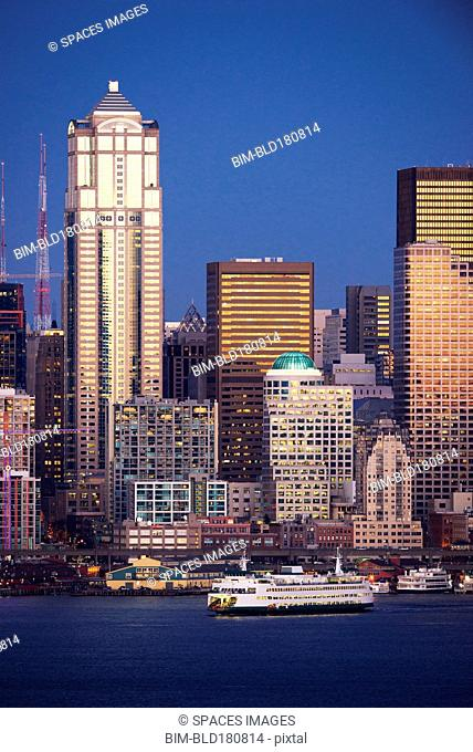 High rise buildings over Seattle waterfront, Washington, United States