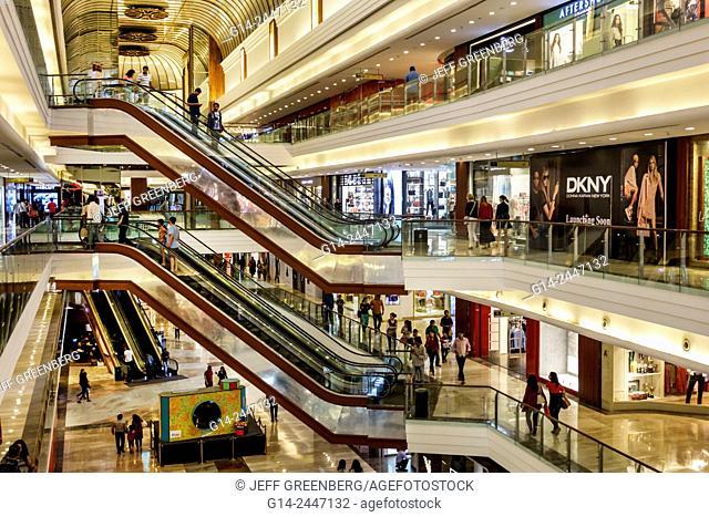 India, Asian, Mumbai, Lower Parel, High Street Phoenix, mall, inside, interior, Palladium, shopping, escalators, DKNY
