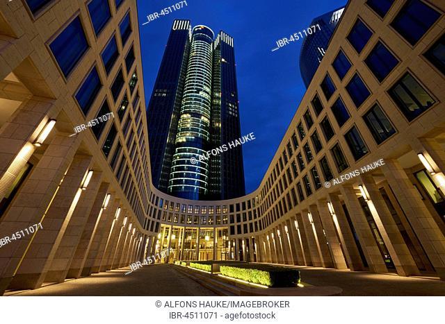 Tower 185 at night, Frankfurt, Hesse, Germany
