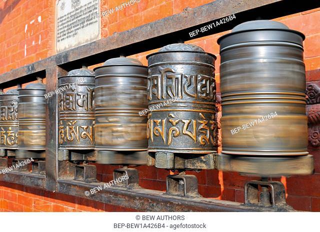 Nepal, Kathmandu, Prayer wheels, Swayambhunath stupa, Monkey Temple